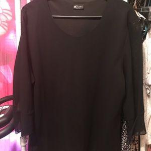 Tops - Ladies Black Blouse by C C size 1x sheer sleeves